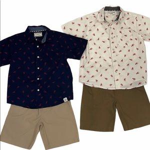 2 Free Planet Boys Shirt & Short Outfits sz 5 & 6